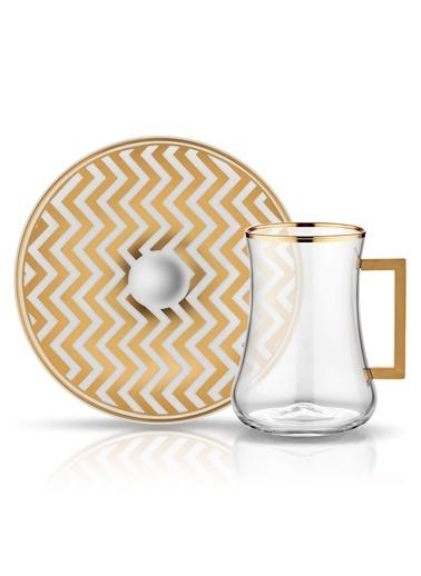 Dervish Kulplu Çay St 6'lı Zigzag Beyaz Prl Altın-Koleksiyon
